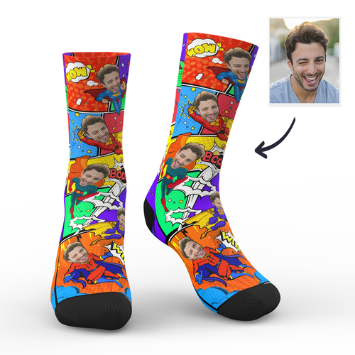 Custom Superhero Dad Funny Socks