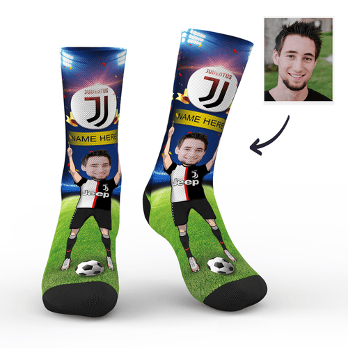 CUSTOM PHOTO SOCKS SC JUVENTUS F.C. SUPERFANS WITH YOUR TEXT