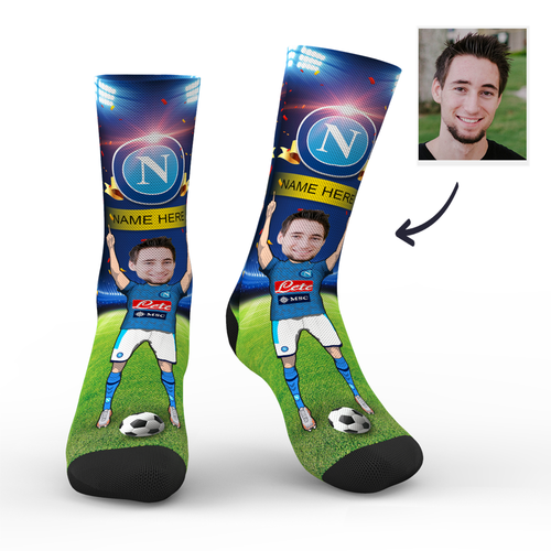 CUSTOM PHOTO SOCKS SC S.S.C. NAPOLI SUPERFANS WITH YOUR TEXT