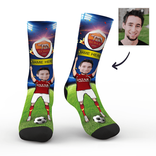 CUSTOM PHOTO SOCKS SC PARIS A.S. ROMA SUPERFANS WITH YOUR TEXT