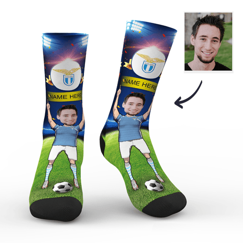 CUSTOM PHOTO SOCKS SC PARIS S.S. LAZIO SUPERFANS WITH YOUR TEXT