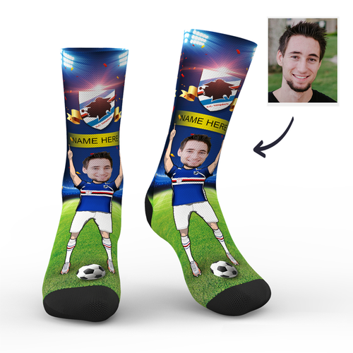 CUSTOM PHOTO SOCKS SC PARIS U.C. SAMPDORIA SUPERFANS WITH YOUR TEXT