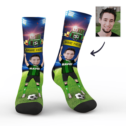 CUSTOM PHOTO SOCKS SC PARIS U.S. SASSUOLO CALCIO SUPERFANS WITH YOUR TEXT