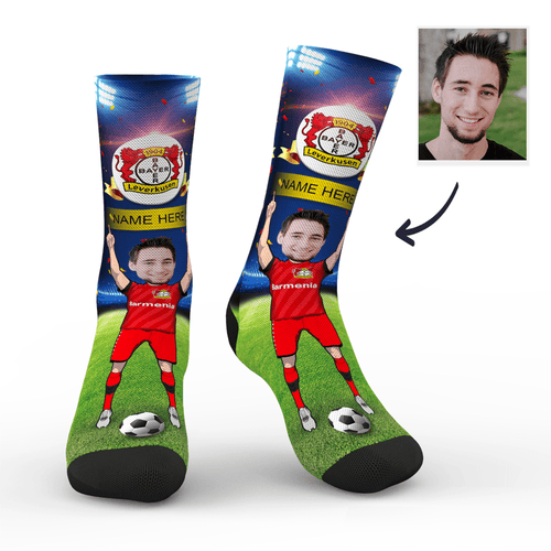 CUSTOM PHOTO SOCKS BAYER 04 LEVERKUSEN SUPERFANS WITH YOUR TEXT