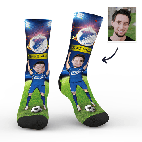 CUSTOM PHOTO SOCKS TSG 1899 HOFFENHEIM SUPERFANS WITH YOUR TEXT