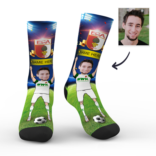 CUSTOM PHOTO SOCKS FC AUGSBURG SUPERFANS WITH YOUR TEXT