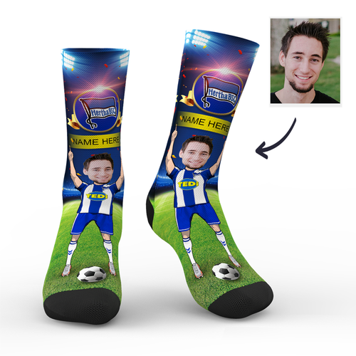 CUSTOM PHOTO SOCKS HERTHA BSC SUPERFANS WITH YOUR TEXT