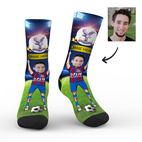 CUSTOM PHOTO SOCKS CRYSTAL PALACE FC SUPERFANS WITH YOUR TEXT