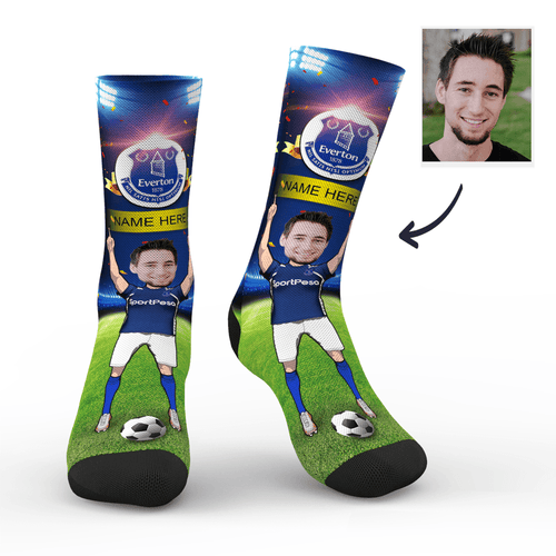 CUSTOM PHOTO SOCKS EVERTON FC SUPERFANS WITH YOUR TEXT