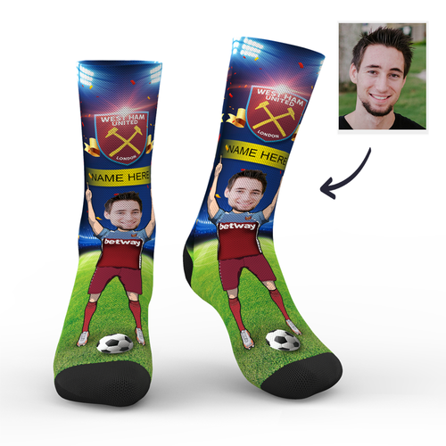 CUSTOM PHOTO SOCKS WEST HAM UNITED FC SUPERFANS WITH YOUR TEXT