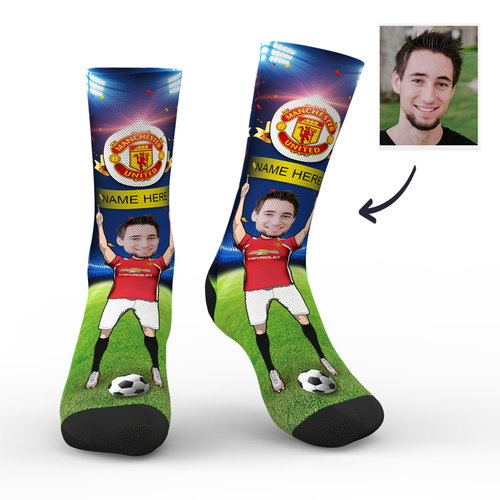 CUSTOM PHOTO SOCKS MANCHESTER UNITED FC SUPERFANS WITH YOUR TEXT