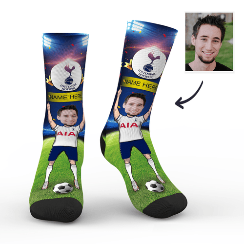 CUSTOM PHOTO SOCKS TOTTENHAM HOTSPUR FC SUPERFANS WITH YOUR TEXT