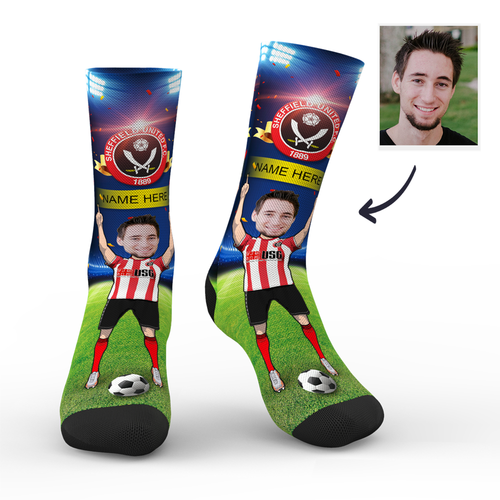 CUSTOM PHOTO SOCKS SHEFFIELD UNITED FC SUPERFANS WITH YOUR TEXT