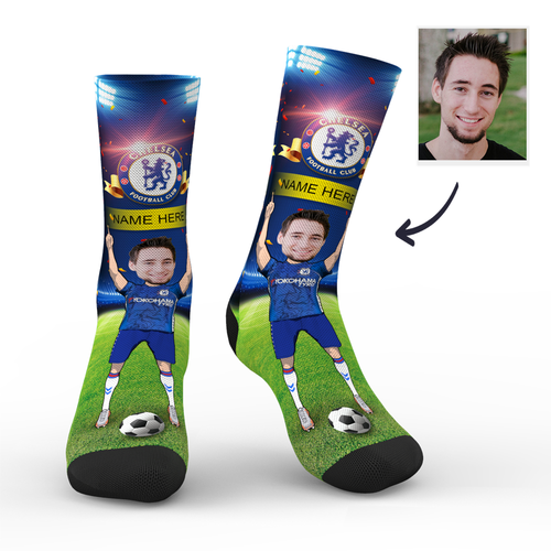 CUSTOM PHOTO SOCKS CHELSEA FC SUPERFANS WITH YOUR TEXT
