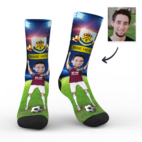 CUSTOM PHOTO SOCKS BURNLEY FC SUPERFANS WITH YOUR TEXT