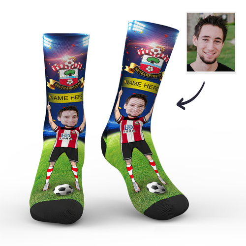 CUSTOM PHOTO SOCKS SOUTHAMPTON FC SUPERFANS WITH YOUR TEXT