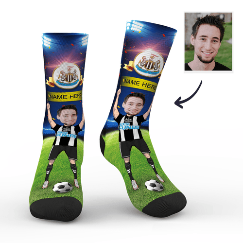 CUSTOM PHOTO SOCKS NEWCASTLE UNITED FC SUPERFANS WITH YOUR TEXT