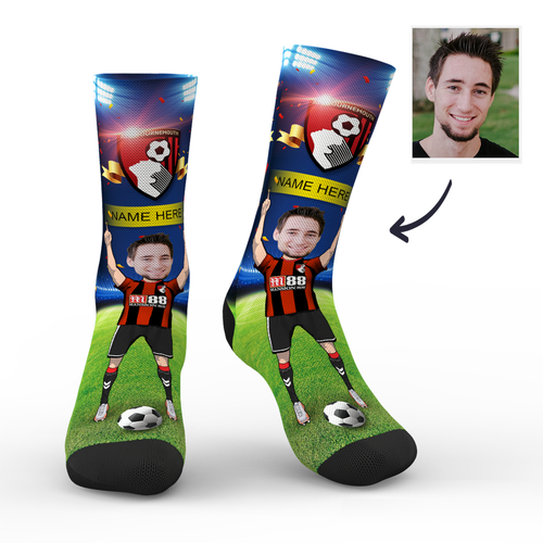 CUSTOM PHOTO SOCKS AFC BOURNEMOUTH SUPERFANS WITH YOUR TEXT