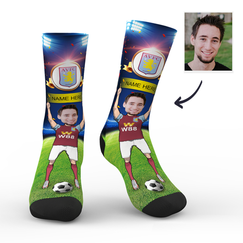 CUSTOM PHOTO SOCKS ASTON VILLA FC SUPERFANS WITH YOUR TEXT