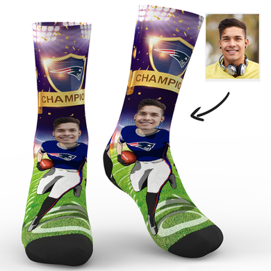 CUSTOM NFL SOCKS NEW ENGLAND PATRIOTS SUPERFANS WITH YOUR TEXT