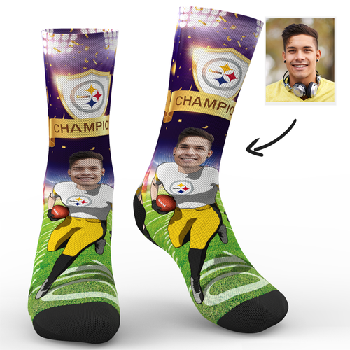 CUSTOM NFL SOCKS PITTSBURGH STEELERS SUPERFANS WITH YOUR TEXT