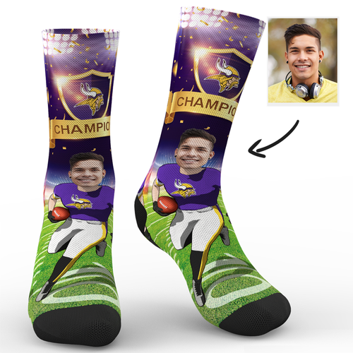 CUSTOM NFL SOCKS MINNESOTA VIKINGS SUPERFANS WITH YOUR TEXT
