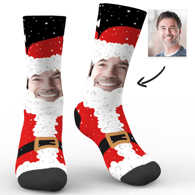 Custom Christmas Face Socks Santa Claus Socks With Your Text