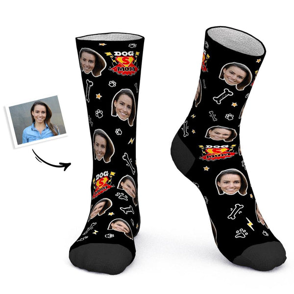 Mother's Day Gift - Custom Socks Personalized Photo Socks Super Dog Mom