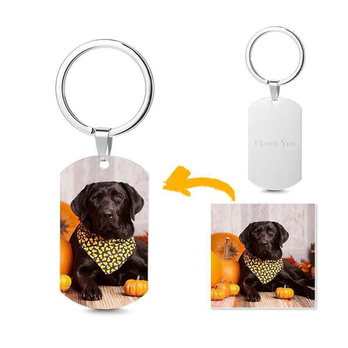 Custom Halloween Engraving Photo Keychain Stainless Steel Keychain-Dog
