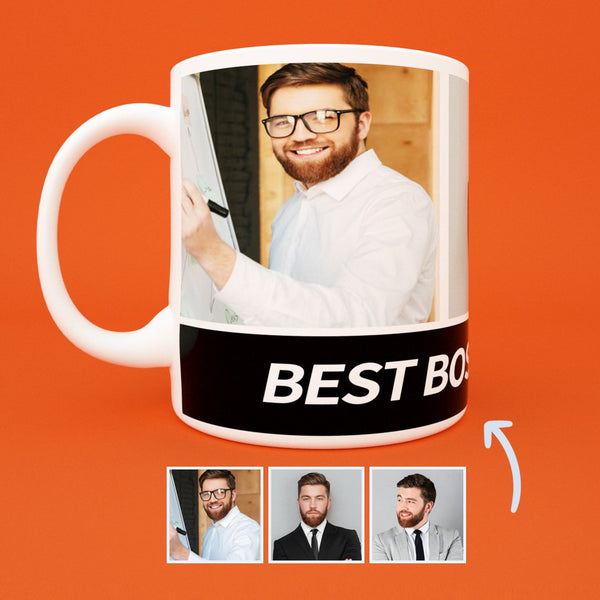 Boss's Day Gift - US Custom Photo Collage Mug with Engraving - 3 Photos