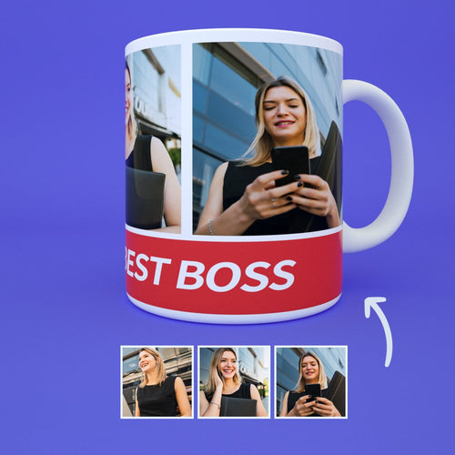 Gift For Best Boss - US Custom Photo Mug with Engraving - 3 Photos