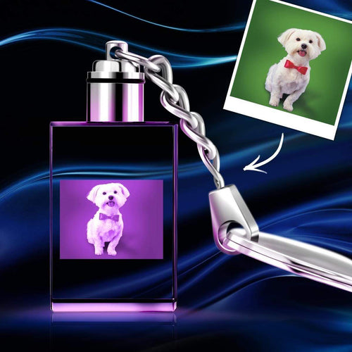 Custom Crystal Photo Keychain - Rectangle Dog Photo Keychain