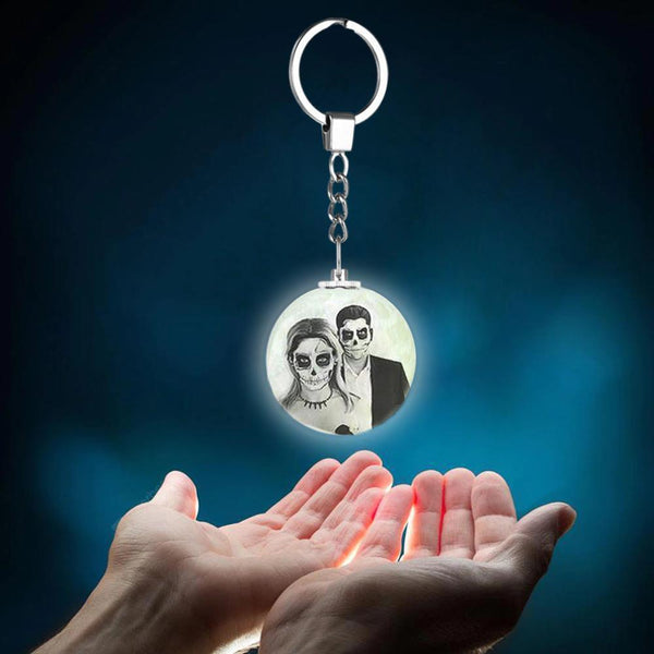 Custom Halloween Photo Keychain 3D Printed Moon Lamp Keychain