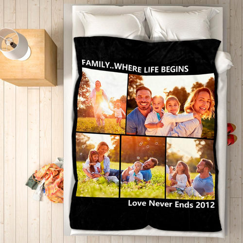 Custom Photo Fleece Blanket Family & Friend with 5 Photos