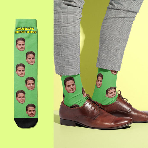 World's Best Boss - USA Custom Face Socks With Your Text
