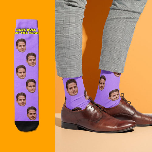Best Boss Of The Year - USA Custom Face Socks With Your Text