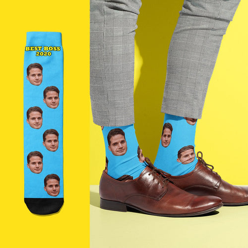 Best Boss 2020 - USA Custom Face Socks With Your Text