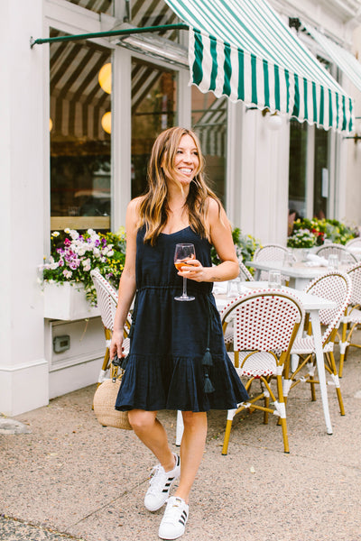 Navy Carina Ruffle Flounce Dress (SHIPS JULY 26th!)