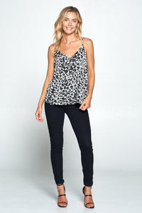Fierce As A Mother Animal Print V-Neck Tank Top