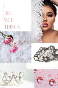 Vision Board Example I Like Nice Things White and Pink