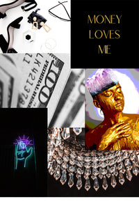 Vision Board Example Money Loves Me Gold Foil Print