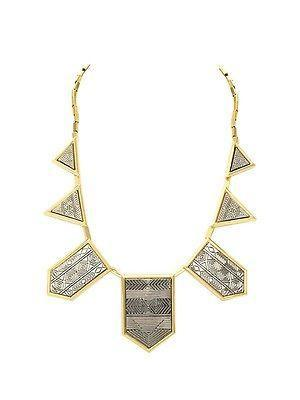 House of Harlow Engraved Classic Station Necklace Gold/Silver