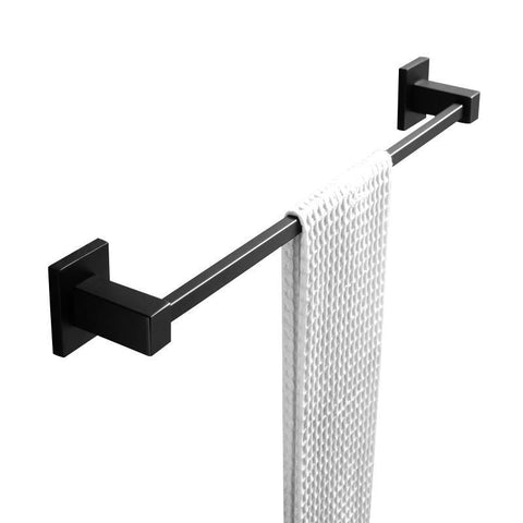 Gama Nero Square Matte Black Single Towel Rail 600mm