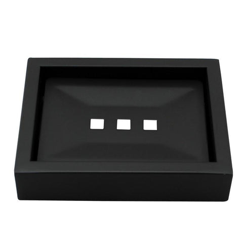Omar Nero Square Matte Black Soap Dish Holder