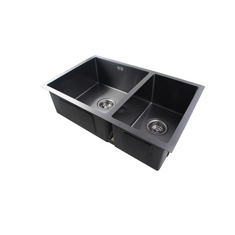 Dark Grey Stainless Steel Handmade Double Bowls Kitchen Sinks