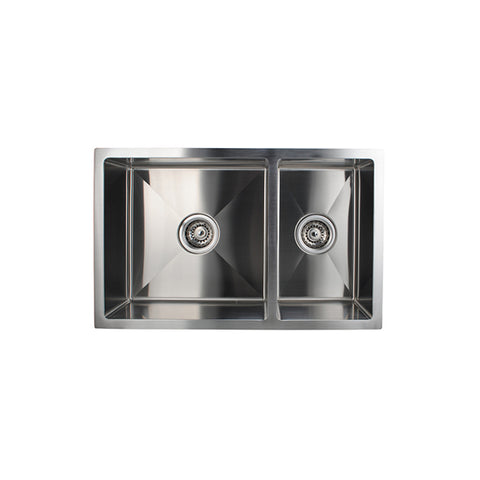Handmade Round Corners Double Bowls Kitchen Sink 715 X 450 X 200 Mm