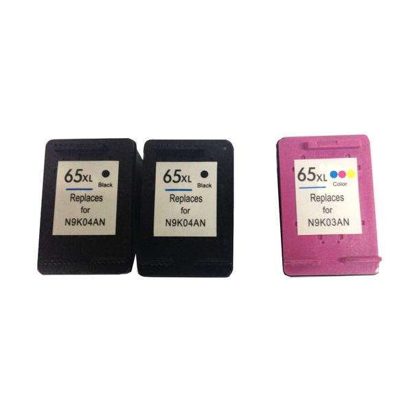 Remanufactured 2x HP65XL Black And 1x HP65XL Colour Set With New Chip