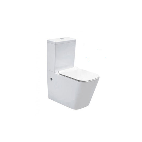 Rimless Two Piece White Toilet With Soft Closed Seat Cover