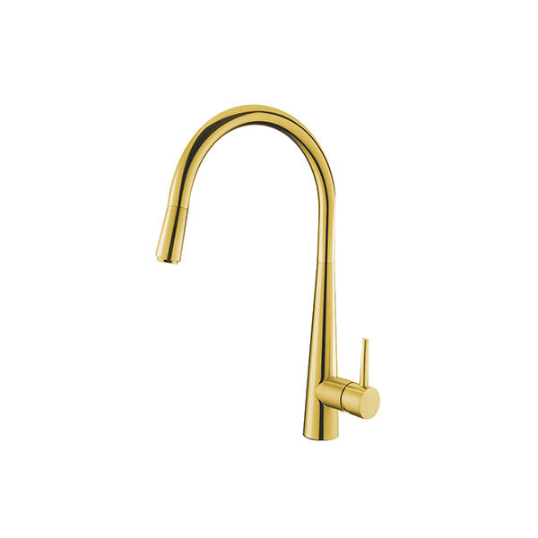 Round Golden Pull Out Kitchen Mixer Tap