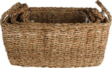 Seagrass Rectangle Storage Basket With Handle (Set Of 3)